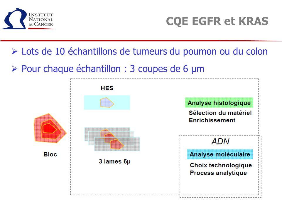 CQE EGFR et KRAS Lots de 10 échantillons de tumeurs du poumon ou du colon.