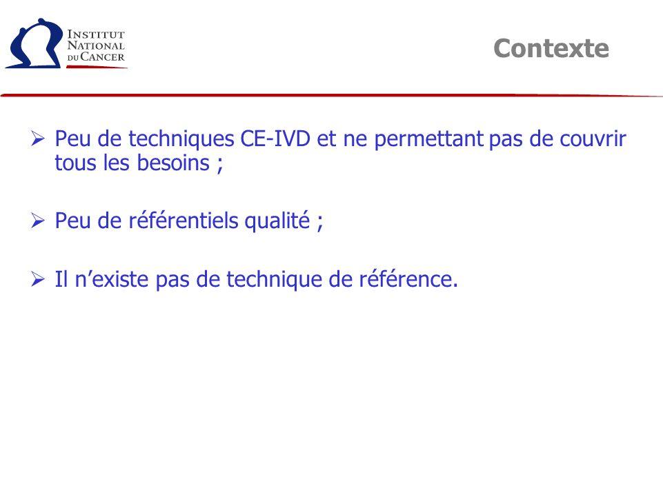 Contexte Peu de techniques CE-IVD et ne permettant pas de couvrir tous les besoins ; Peu de référentiels qualité ;