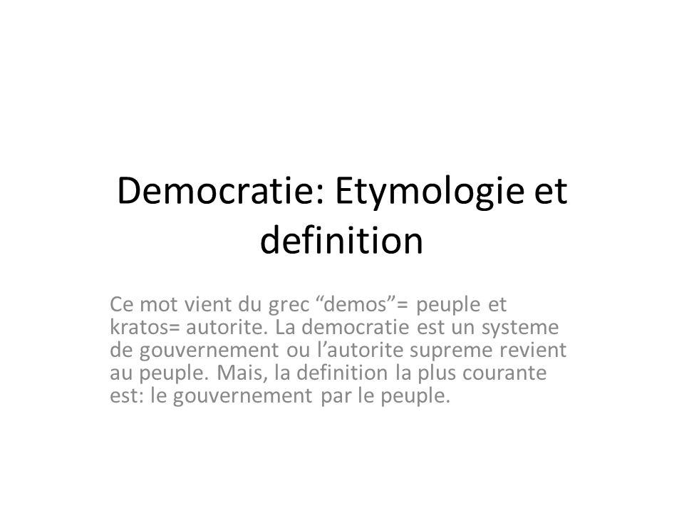 democratie etymologie et definition ppt t l charger