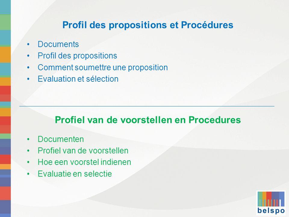 Profil des propositions et Procédures