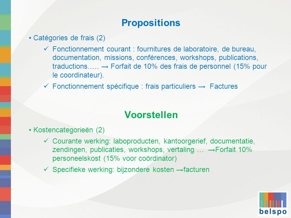 Propositions Voorstellen Catégories de frais (2)