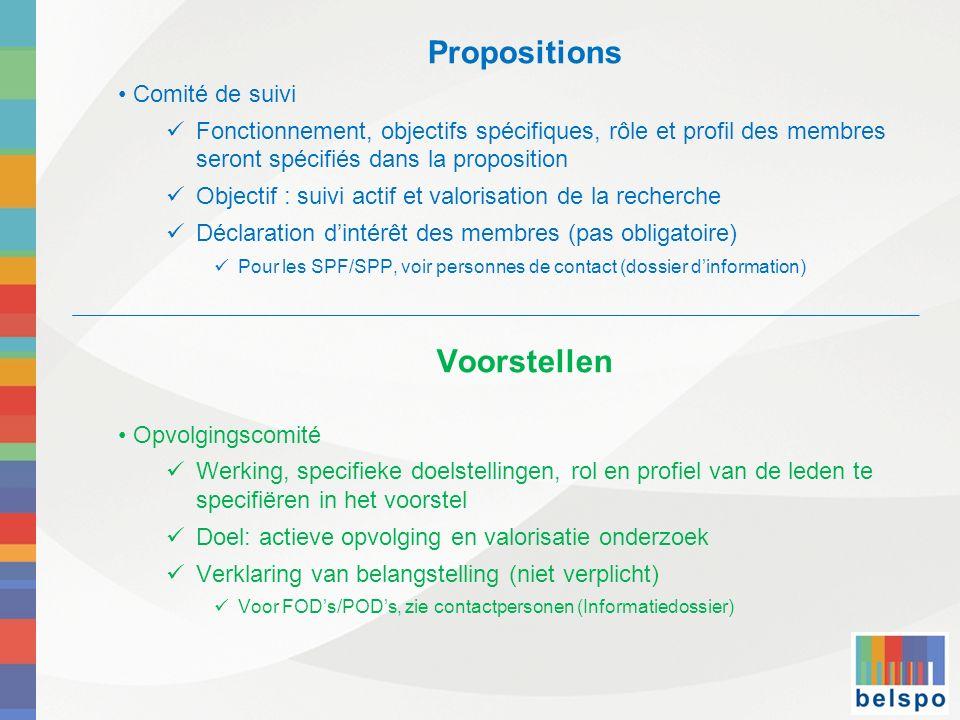 Propositions Voorstellen Comité de suivi