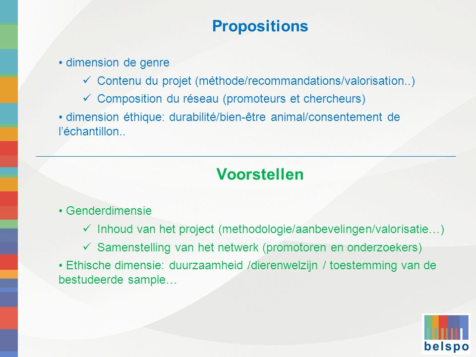 Propositions Voorstellen