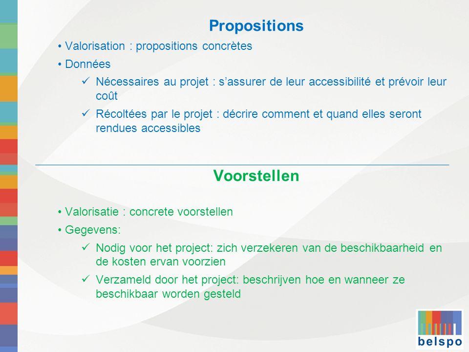 Propositions Voorstellen Valorisation : propositions concrètes Données