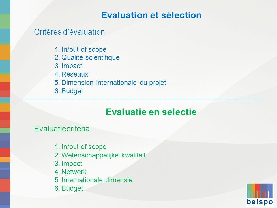 Evaluation et sélection