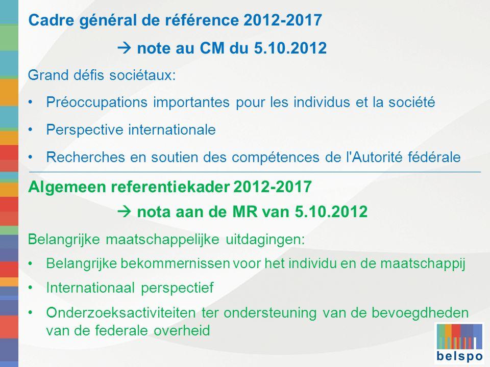 Cadre général de référence 2012-2017  note au CM du 5.10.2012