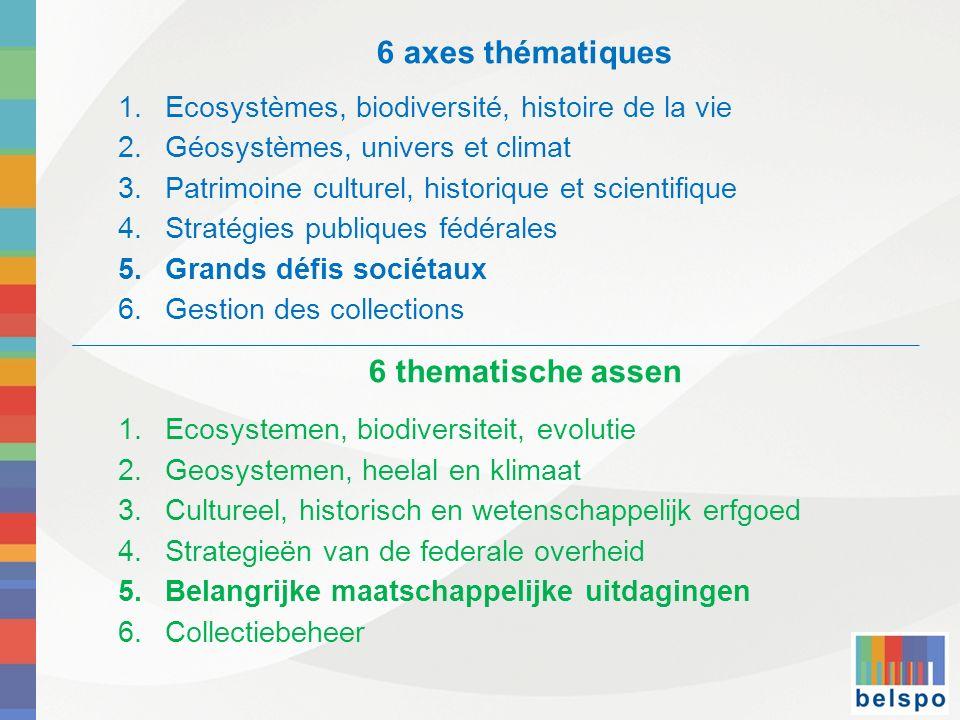 6 axes thématiques 6 thematische assen
