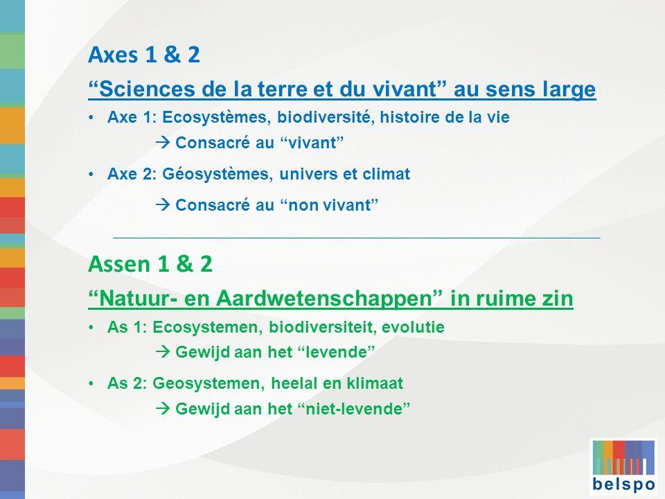 Axes 1 & 2 Sciences de la terre et du vivant au sens large. Axe 1: Ecosystèmes, biodiversité, histoire de la vie.