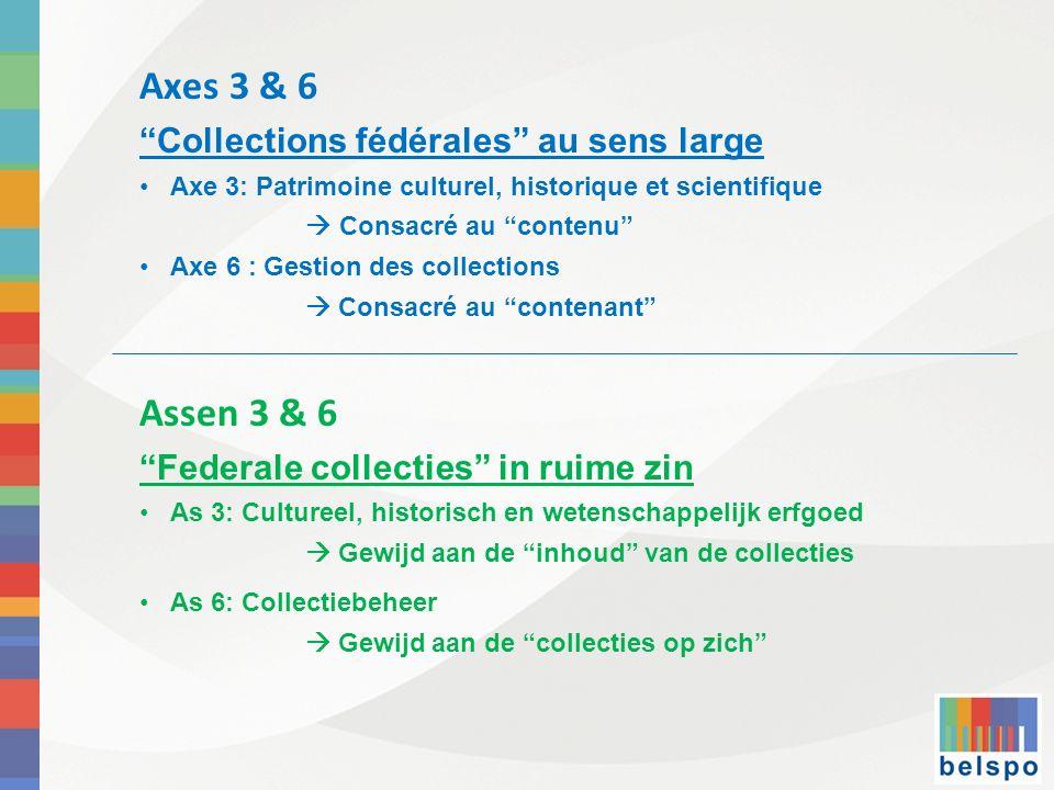 Axes 3 & 6 Assen 3 & 6 Collections fédérales au sens large