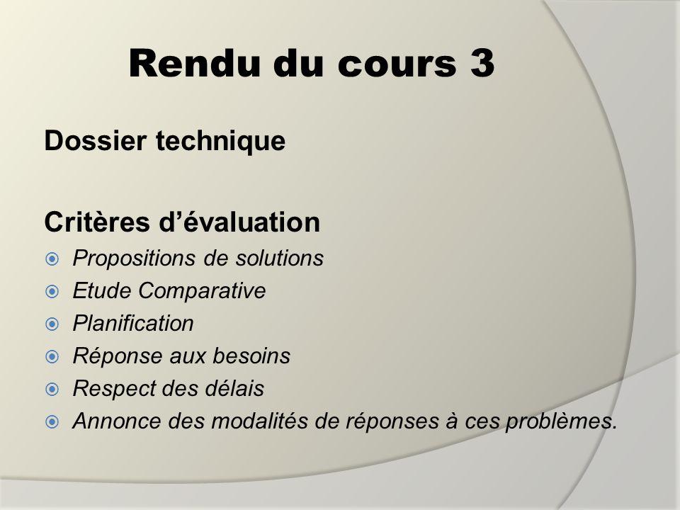 Rendu du cours 3 Dossier technique Critères d'évaluation