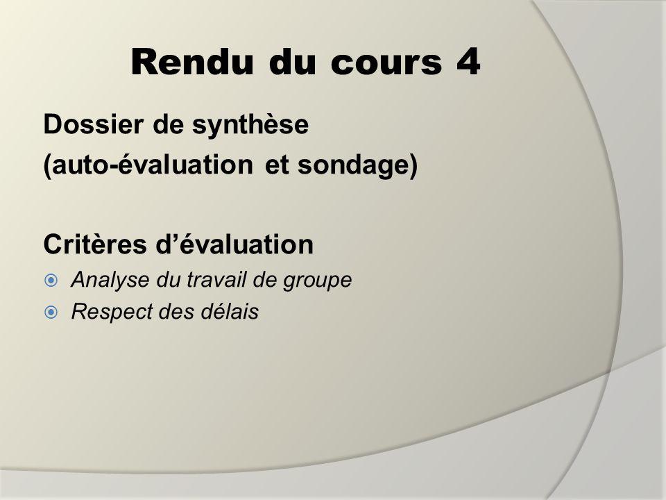 Rendu du cours 4 Dossier de synthèse (auto-évaluation et sondage)