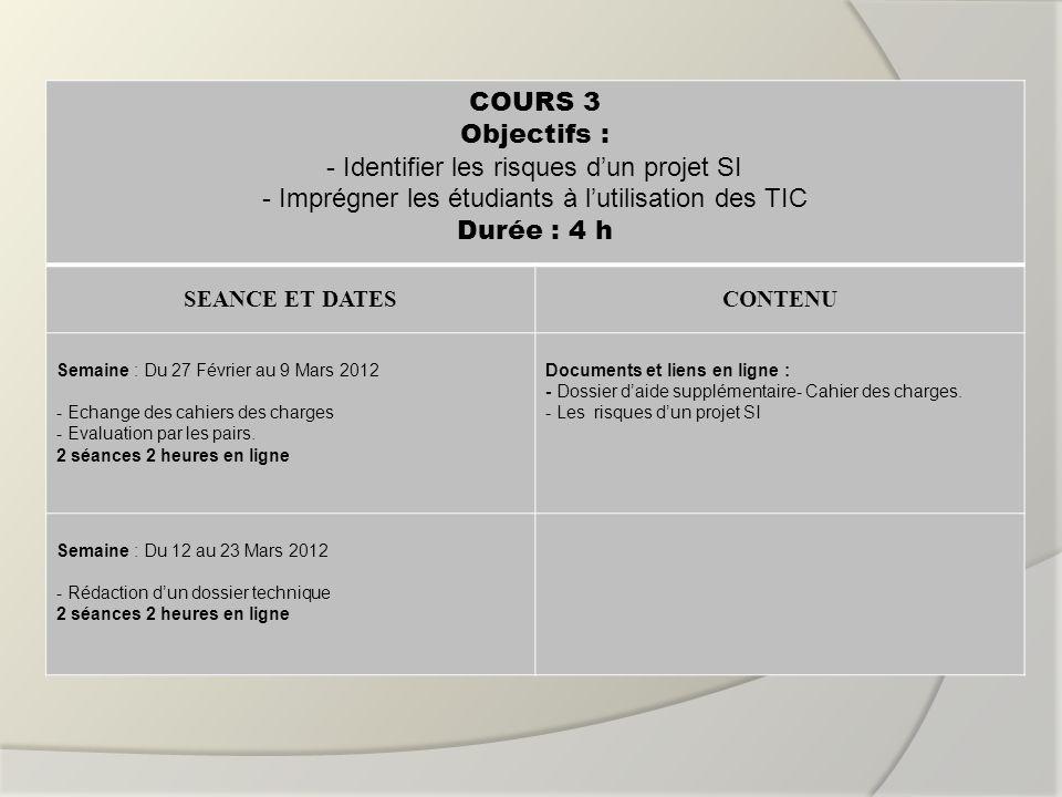 COURS 3 Objectifs : Durée : 4 h