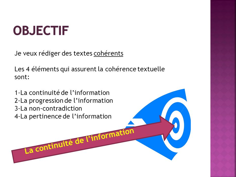 Objectif La continuité de l'information