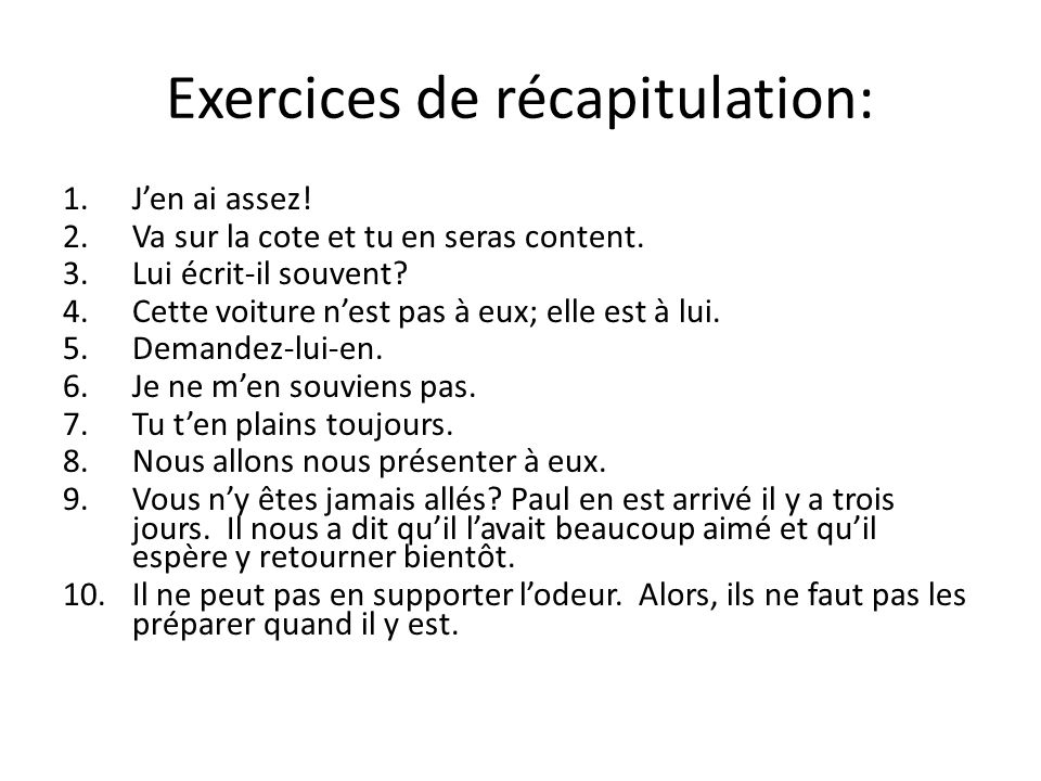 Exercices de récapitulation: