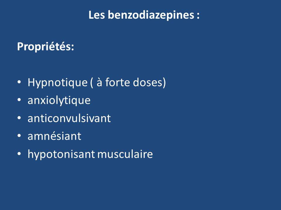 Les benzodiazepines : Propriétés: Hypnotique ( à forte doses) anxiolytique. anticonvulsivant. amnésiant.