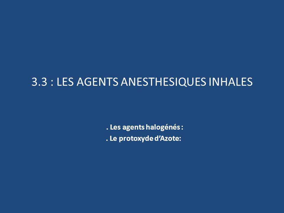 3.3 : LES AGENTS ANESTHESIQUES INHALES