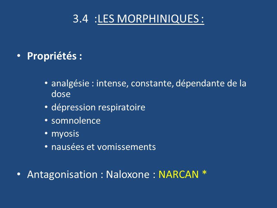 3.4 :LES MORPHINIQUES : Propriétés :
