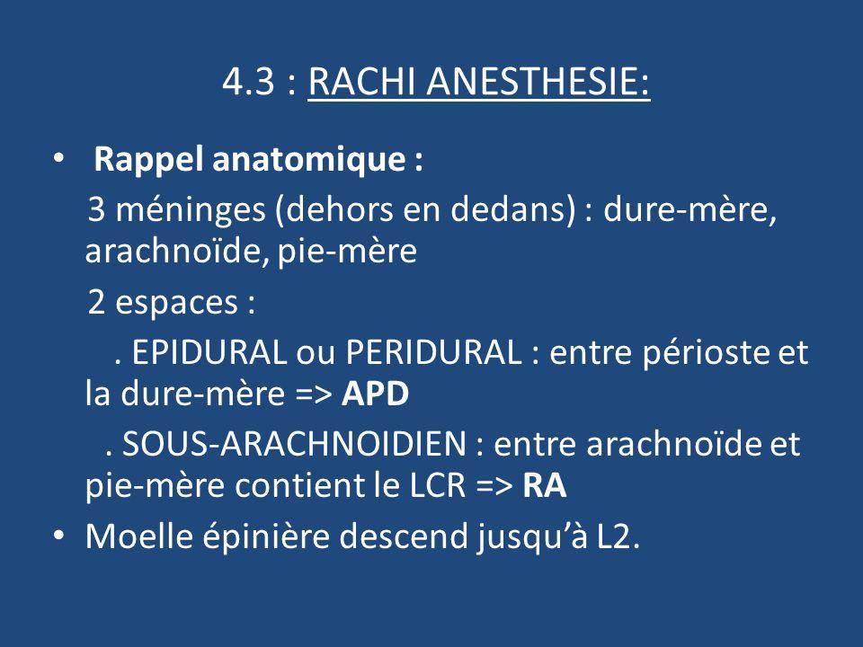 4.3 : RACHI ANESTHESIE: Rappel anatomique :