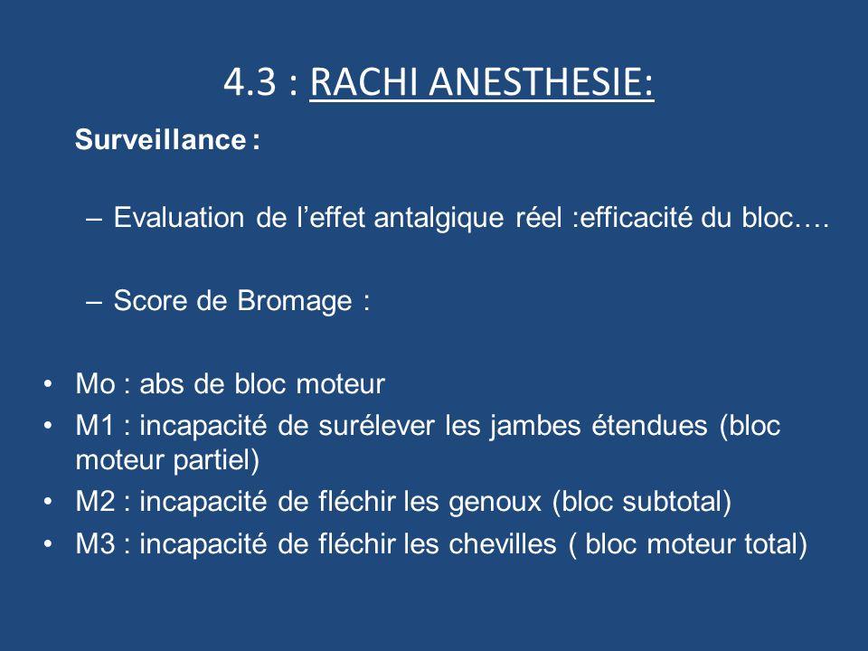 4.3 : RACHI ANESTHESIE: Surveillance :