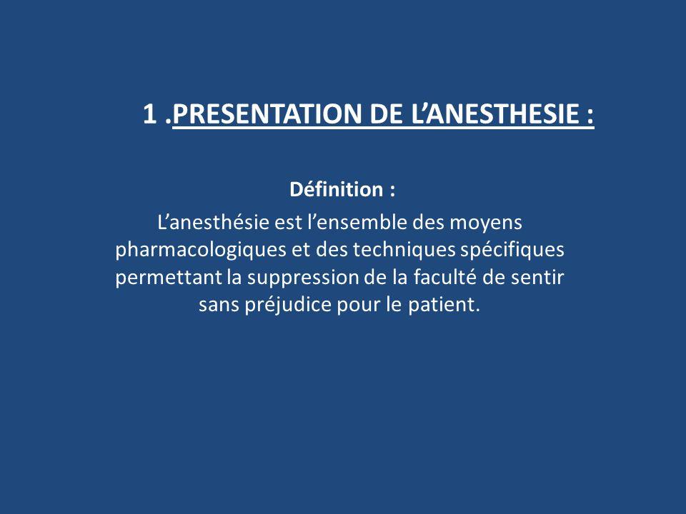 1 .PRESENTATION DE L'ANESTHESIE :