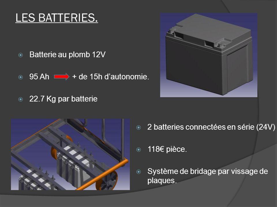 LES BATTERIES. Batterie au plomb 12V 95 Ah + de 15h d'autonomie.