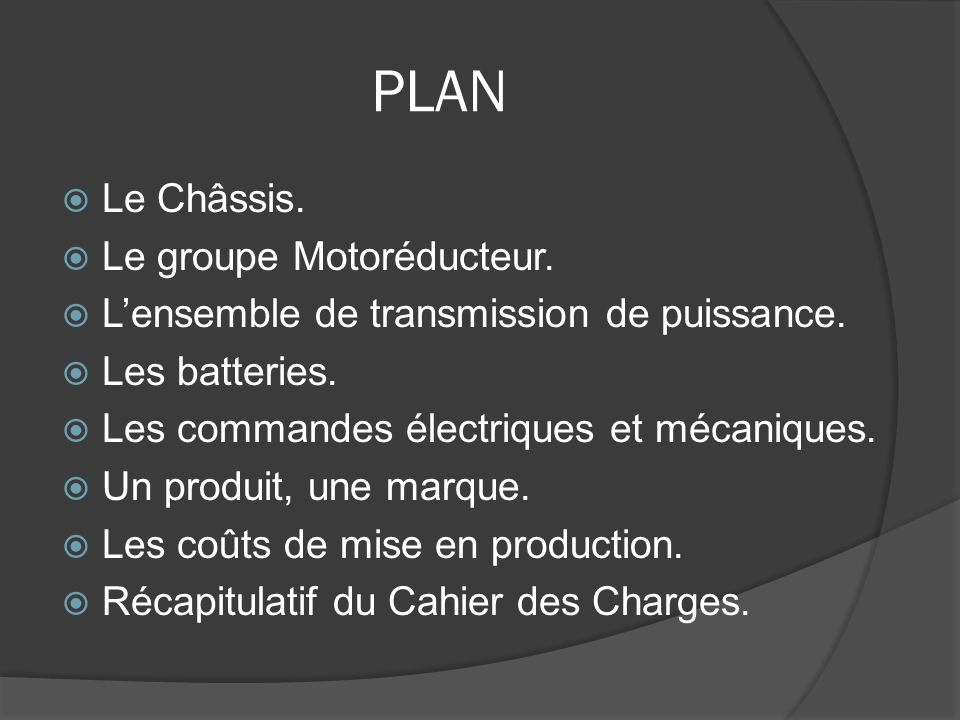 PLAN Le Châssis. Le groupe Motoréducteur.