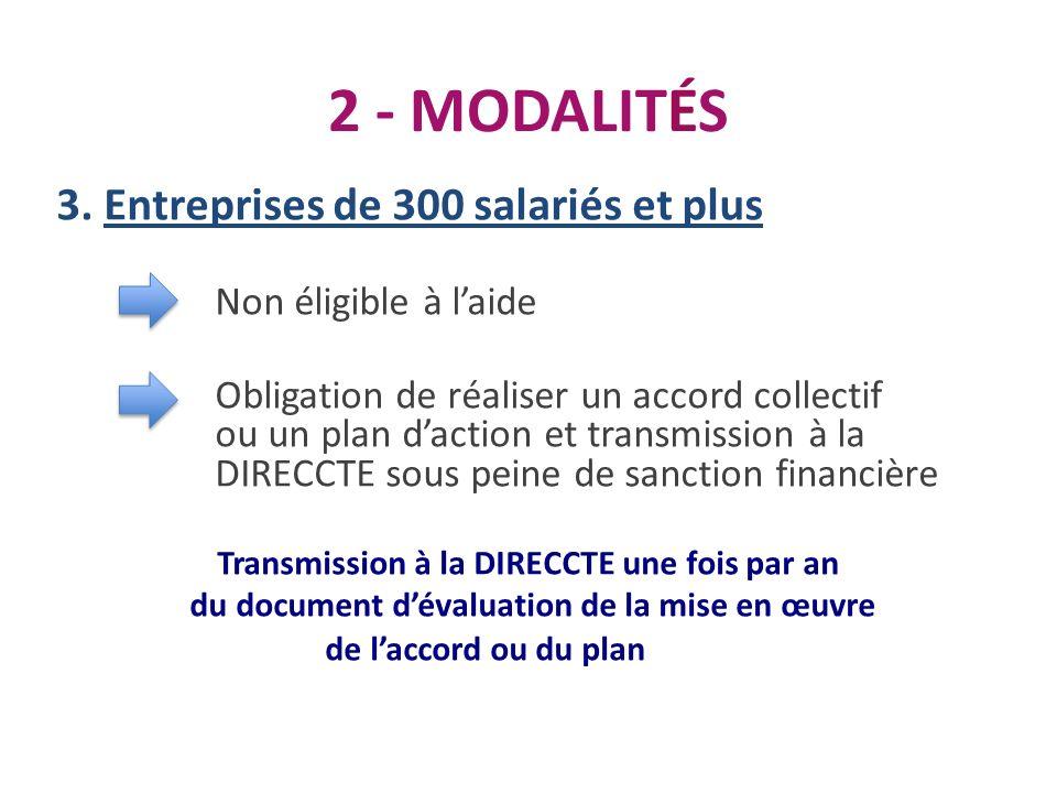 2 - MODALITÉS 3. Entreprises de 300 salariés et plus