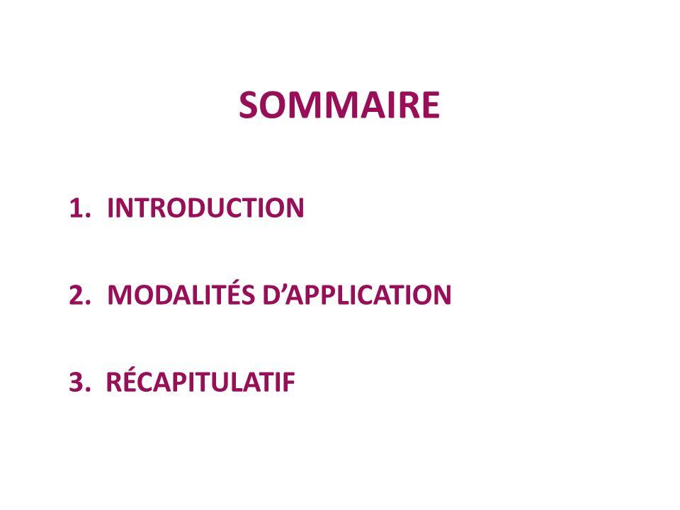 INTRODUCTION MODALITÉS D'APPLICATION 3. RÉCAPITULATIF
