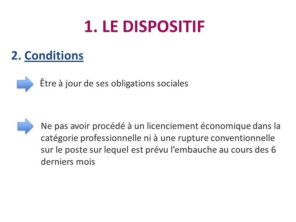 1. LE DISPOSITIF 2. Conditions