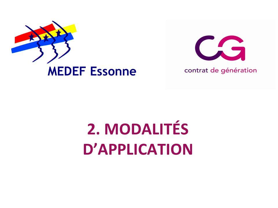 MEDEF Essonne 2. MODALITÉS D'APPLICATION