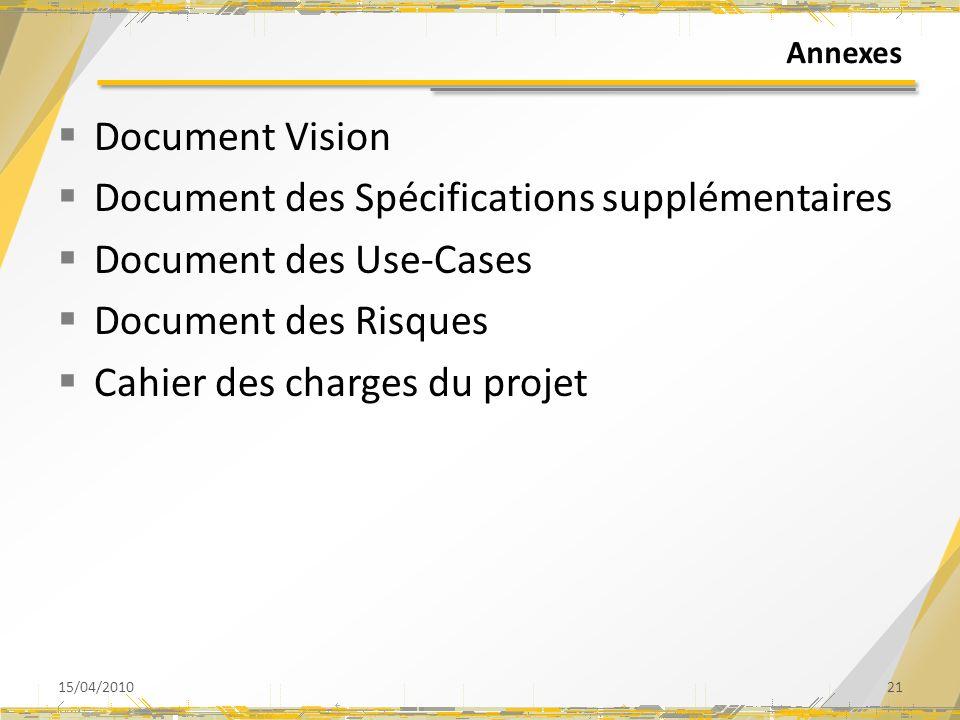 Document des Spécifications supplémentaires Document des Use-Cases
