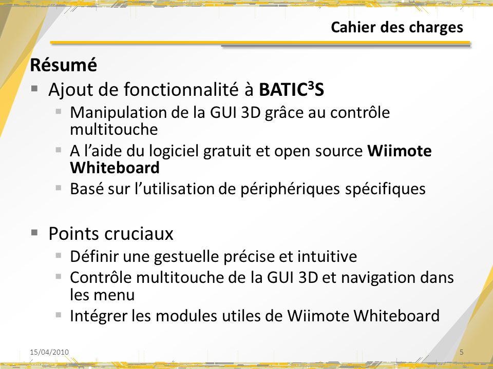 Ajout de fonctionnalité à BATIC3S