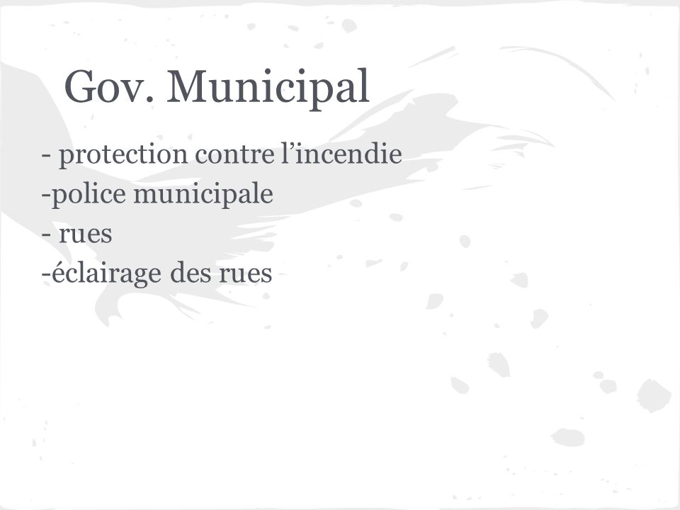 Gov. Municipal - protection contre l'incendie -police municipale