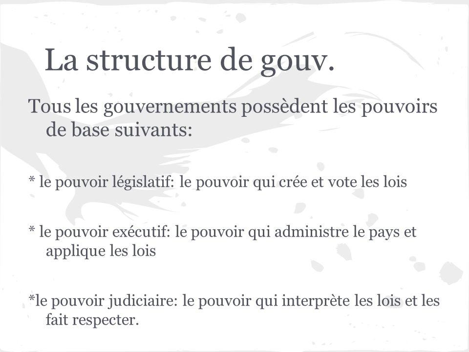 La structure de gouv. Tous les gouvernements possèdent les pouvoirs de base suivants: * le pouvoir législatif: le pouvoir qui crée et vote les lois.