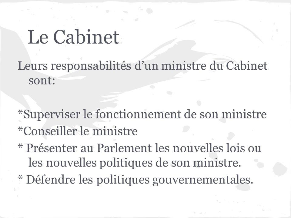 Le Cabinet Leurs responsabilités d'un ministre du Cabinet sont: