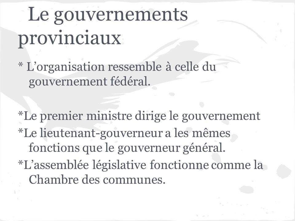 Le gouvernements provinciaux