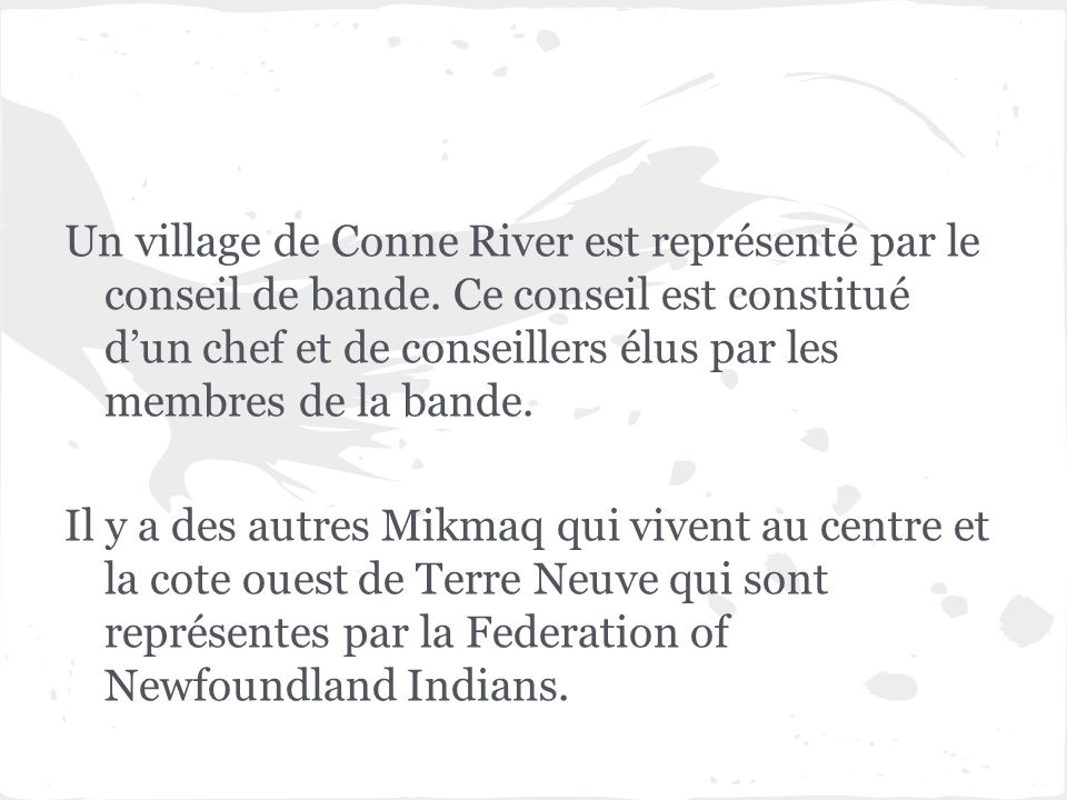 Un village de Conne River est représenté par le conseil de bande