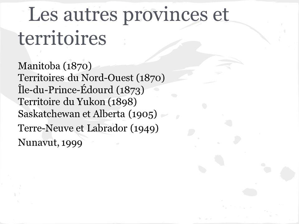 Les autres provinces et territoires