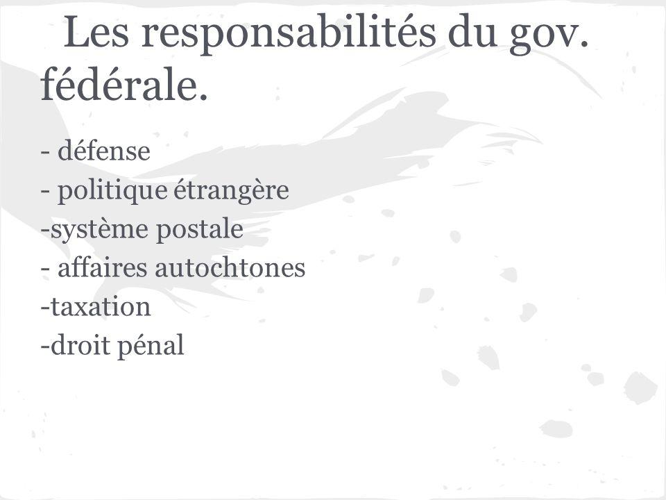 Les responsabilités du gov. fédérale.