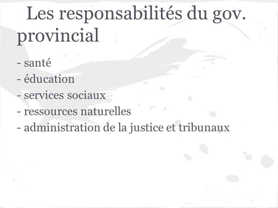 Les responsabilités du gov. provincial