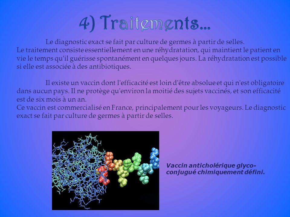 4) Traitements… Le diagnostic exact se fait par culture de germes à partir de selles.