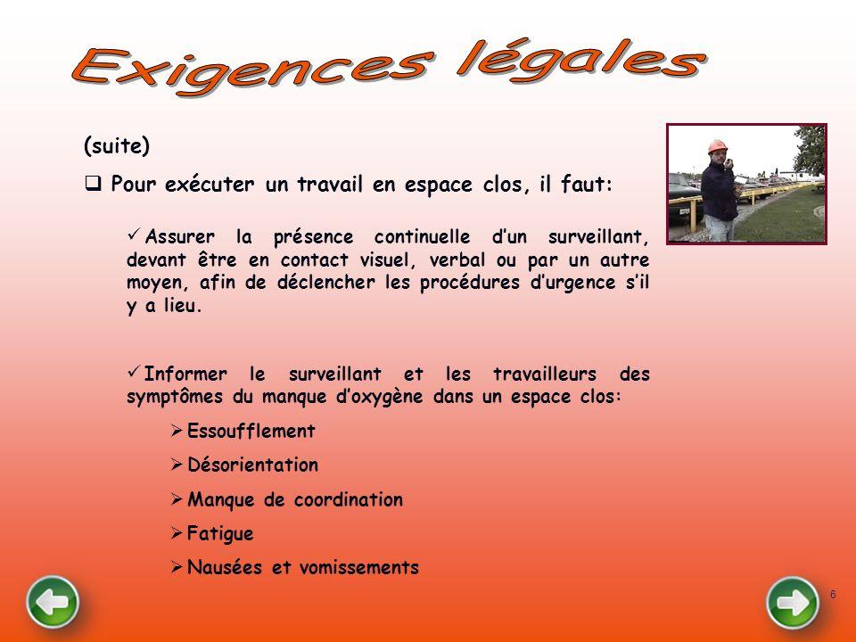 Exigences légales (suite)