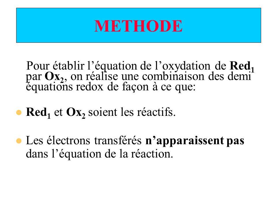 METHODE Pour établir l'équation de l'oxydation de Red1 par Ox2, on réalise une combinaison des demi équations redox de façon à ce que: