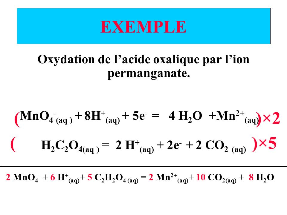 EXEMPLE Oxydation de l'acide oxalique par l'ion permanganate. MnO4-(aq ) + 8H+(aq) + 5e- = 4 H2O +Mn2+(aq)