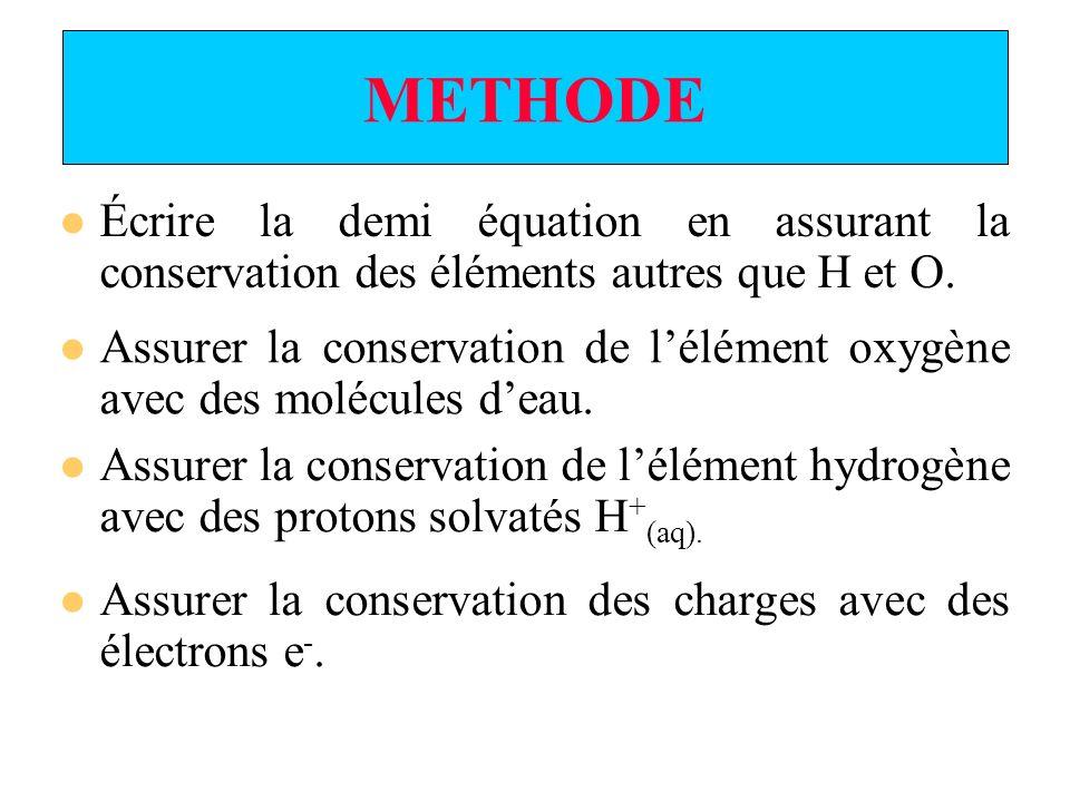 METHODE Écrire la demi équation en assurant la conservation des éléments autres que H et O.