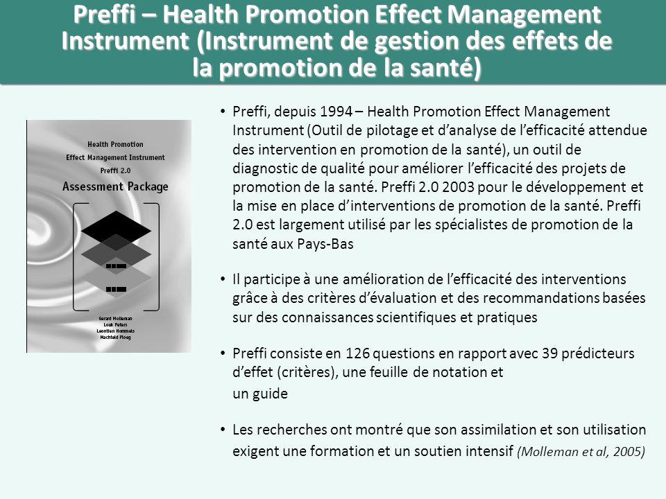 Preffi – Health Promotion Effect Management Instrument (Instrument de gestion des effets de la promotion de la santé)