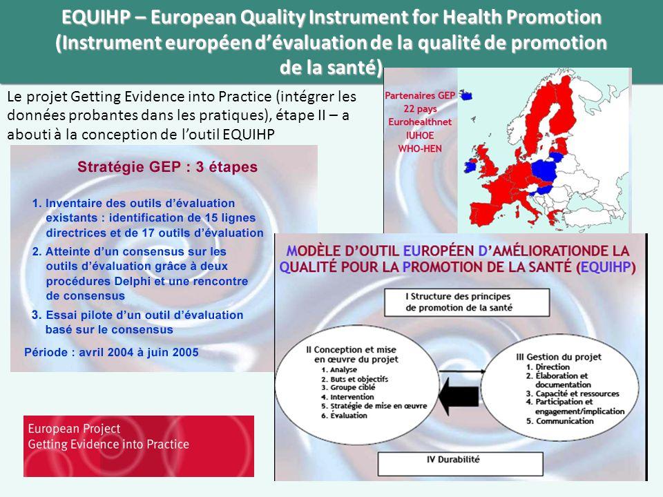 EQUIHP – European Quality Instrument for Health Promotion (Instrument européen d'évaluation de la qualité de promotion de la santé)