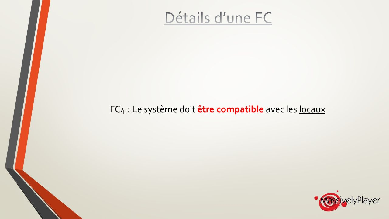 Détails d'une FC FC4 : Le système doit être compatible avec les locaux
