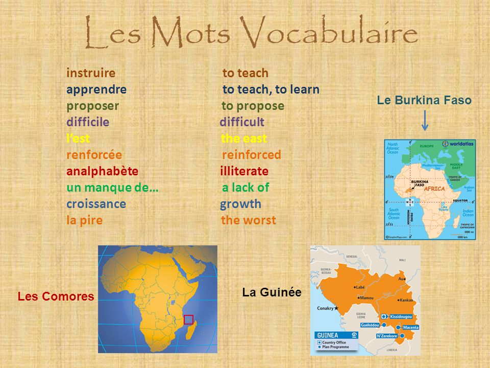 Les Mots Vocabulaire instruire to teach apprendre to teach, to learn