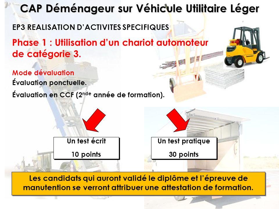 Phase 1 : Utilisation d'un chariot automoteur de catégorie 3.